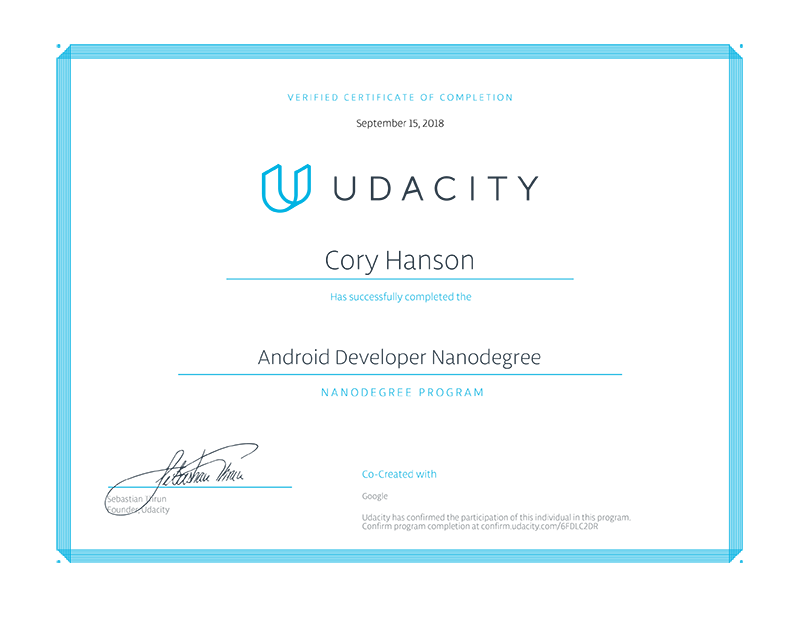 Android Development Nanodegree Program Completion