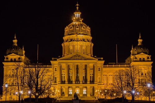 The east side of the Iowa State Capitol up close